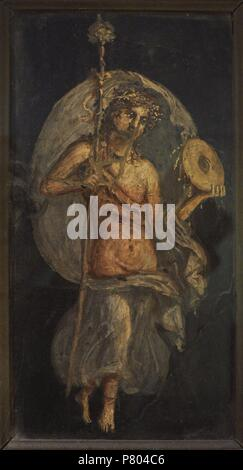 Maenad with drum. From Herculaneum. National Archaeological Museum. Naples. Italy. - Stock Photo