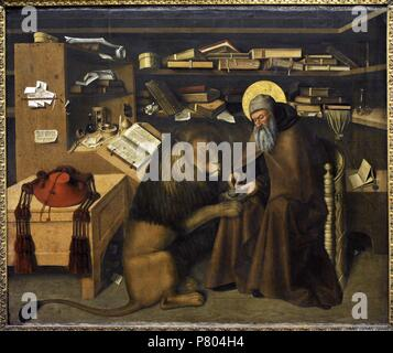 Saint Jerome (340-420). Saint Jerome in his study, around 1445. Painting by Colantonio (1440-1470). Bourbon Collection. National Museum of Capodimonte. Naples. Italy. - Stock Photo