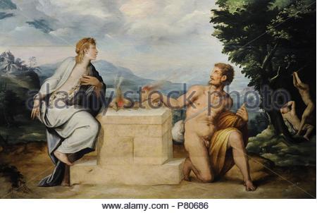 Sacristy of St Giovanni Carbonara by Giorgio Vasari (1511-1574) and Cristofano Gherardi (1508-1556). Sacrifice of Cain and Abel. National Museum of Capodimonte. Naples. Italy. - Stock Photo