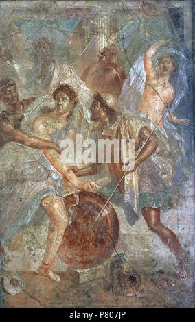 Roman fresco depicting Ulysses unmasks Achilles, dressed as a woman, in Sciro. Tablinium. House of the Dioscuri, Pompeii. National Archaeological Museum. Naples. Italy. - Stock Photo