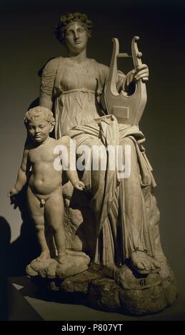 Erato, muse of lyric poetry. Hadrian's Villa, Tivoli, Italy.130-150. Marble.  Roman copy. Queen Christina of Sweden Collection. Prado Museum. Madrid. Spain. - Stock Photo