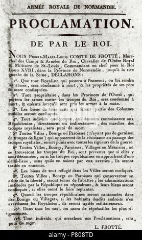 France. French Revolution. Proclamation made by King Louis XVIII, 1793. Exile. Document signed by Pierre-Marie-Louis, Count Frotte. Carnavalet Museum. Paris. France. - Stock Photo
