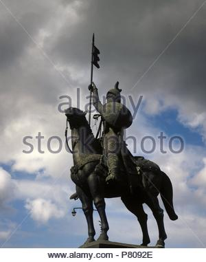 Equestrian statue of Vimara Peres (died, 873). Nobleman from the Kingdom of Asturias and 1st Count of Portugal. Porto. Portugal. - Stock Photo