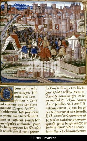 Louis XI (1423-1483). King of France. Site of Paris. Miniature of a manuscript of 15th century. - Stock Photo