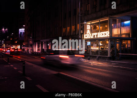 Bucharest, ROMANIA - January 26: Side view of a small Craft Beer Pub in the central part of Bucharest, on Calea Victoriei. BUCHAREST, Romania - Stock Photo