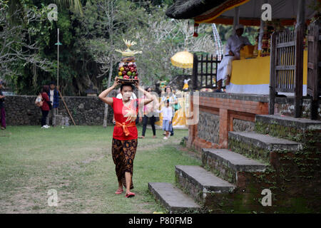 Tenganan, Indonesia – June 30 2018: A woman carries a platter of fruit, used as part of the ceremonies during the annual Perang Pandan festival in the - Stock Photo