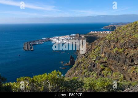 View along North West coast to port of Puerto de las Nieves, Gran Canaria, Canary Islands - Stock Photo