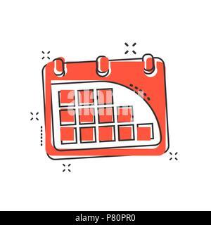 Cartoon calendar icon in comic style. Agenda illustration pictogram. Calendar sign splash business concept. - Stock Photo