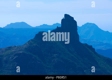 Roque Bentayga and landscape in interior of island. - Stock Photo