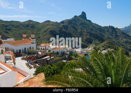 View over Tejeda and Roque Bentayga in centre of island of Gran Canaria, Canary Islands, Spain - Stock Photo