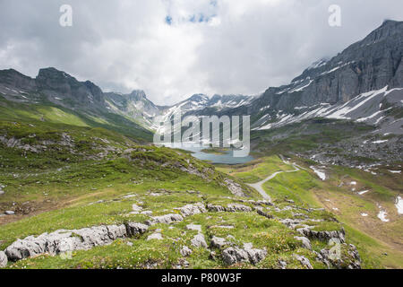 glattalp lake in canton schwyz switzerland beautiful landscape - Stock Photo