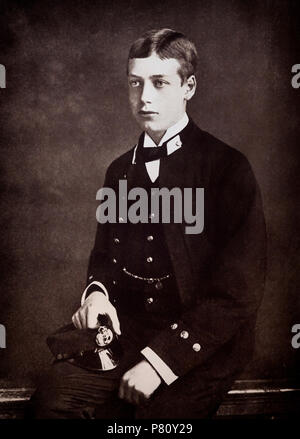 Portrait of Prince George as a Naval Cadet on the Britannia, on which he became a midshipman in 1880. He later became George V,  King of the United Kingdom and the British Dominions, and Emperor of India, from 6 May 1910 until his death in 1936. - Stock Photo
