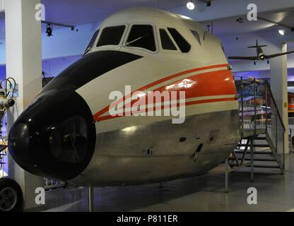 Vikers Viscount. Medium-range airliner driven by four turboprop engines. Variants: Type 784. Production variant for Philippine Air Lines with Dart 510s, 48 seats and slipper tanks, three built, first delivered in May 1957. Maritime and Science Museum. Malmo. Sweden. - Stock Photo
