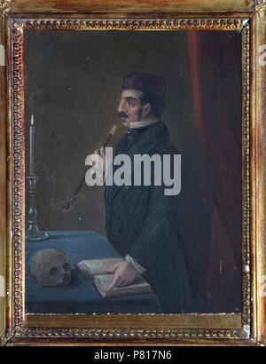 Portrait of Ferdinand Wolf (1797-1854). Museum: Institut of Russian Literature IRLI (Pushkin-House), St Petersburg. - Stock Photo
