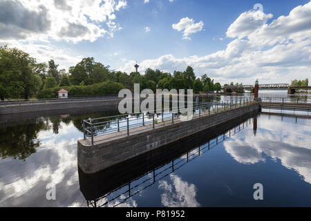 View of the Tammerkoski rapids, parks and Näsinneula observation tower in downtown Tampere, Finland in the summer. - Stock Photo