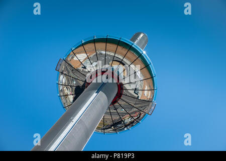 British Airways i360 observation tower on a sunny day with a clear blue sky backdrop with copy space - Stock Photo