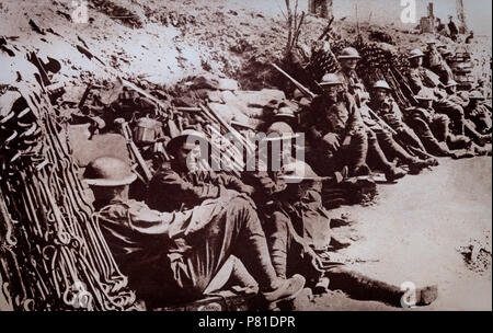 Anzacs, Australian and New Zealand troops, heroes of the Gallipoli landings taking a well earned rest. They were just some of the many troops from Empire Territories that seved in World War 1. - Stock Photo