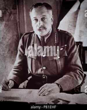 1918 portrait of Sir Douglas Haig, Commander the British Expeditionary Force (BEF) on the Western Front from late 1915 until the end of the war. He was commander during the Battle of the Somme, the Third Battle of Ypres, the German Spring Offensive, and the Hundred Days Offensive. - Stock Photo
