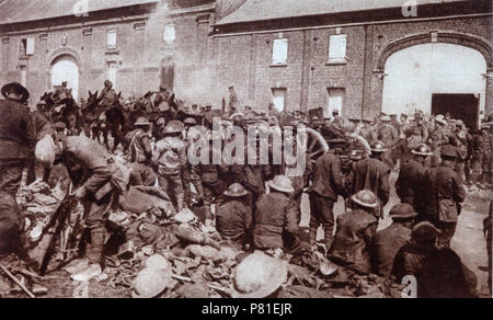 Allied troops after being pushed back to the River Marne. The 1918 Spring Offensive, or Kaiserschlacht (Kaiser's Battle), also known as the Ludendorff Offensive, was a series of German attacks along the Western Front during the First World War, beginning on 21 March 1918, which marked the deepest advances by either side since 1914. The Germans had realised that their only remaining chance of victory was to defeat the Allies before the overwhelming human and matériel resources of the United States could be fully deployed. - Stock Photo
