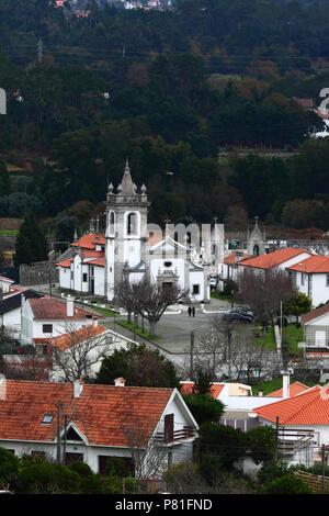 View over outskirts of village and Igreja Matriz parish church, Vila Praia de Ancora, Minho Province, northern Portugal - Stock Photo