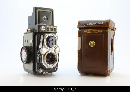 Yashica-44LM from the 1950's with case - Stock Photo