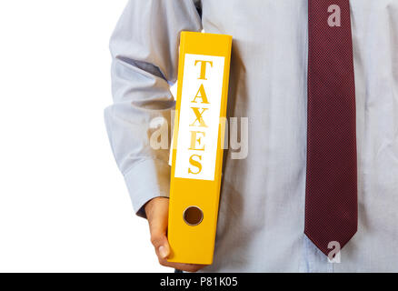 Business taxation. Manager holding a binder folder on white background, text taxes, clipping path - Stock Photo