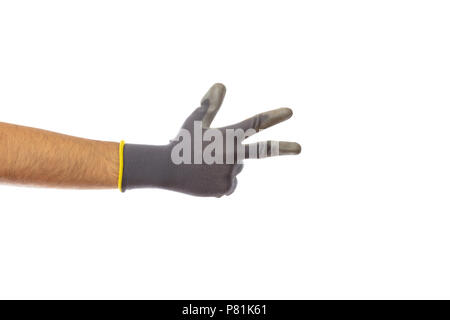 Step 3. Male gloved hand counting three isolated on white background, clipping path - Stock Photo