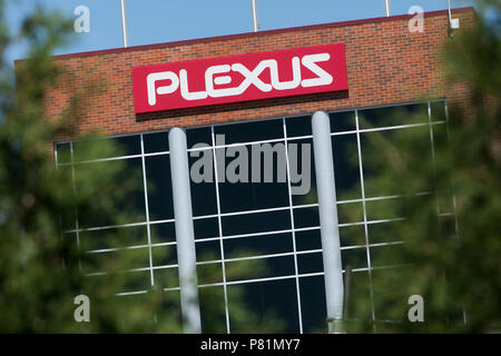 A logo sign outside of a the headquarters of Plexus Corp., in Neenah, Wisconsin, on June 24, 2018. - Stock Photo