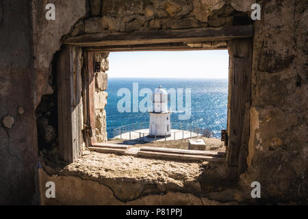 Lighthouse. View from an abandoned radio-transmission to a beacon. Cape Meganom. City district Sudak, the Republic of Crimea. - Stock Photo