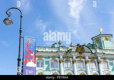 Official FIFA World Cup 2018 banner by the Winter Palace and Hermitage Museum in St Petersburg, Russia - Stock Photo