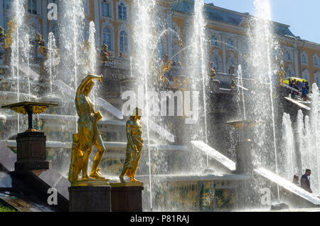 Th Grand Cascade of the Peterhof Palace in Petergof, St Petersburg - Stock Photo