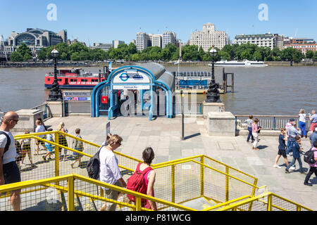 Festival Pier from Southbank Centre, South Bank, London Borough of Lambeth, Greater London, England, United Kingdom - Stock Photo