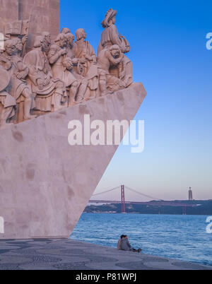 Lisbon, Portugal, monument of the discoveries, Padrão dos Descobrimentos - Stock Photo