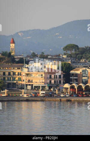 View from the sea towards Old Corfu Town, Corfu, GREECE, PETER GRANT - Stock Photo