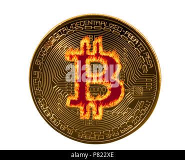 Single bitcoin macro image isolated against white - Stock Photo