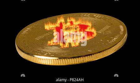 Single bitcoin macro image isolated against black - Stock Photo