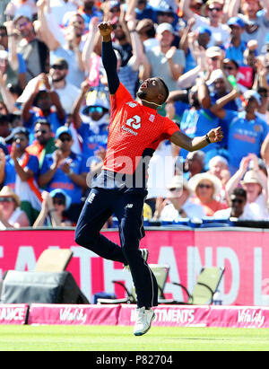 England's Chris Jordan celebrates after catching India's KL Rahul during the Second Vitality IT20 Series Match at the Brightside Ground, Bristol. - Stock Photo