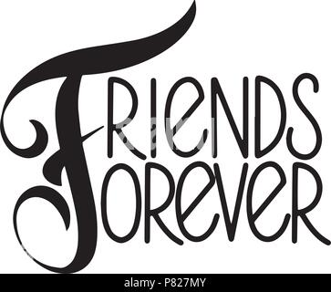 Friendship day hand drawn lettering. Friends forever. Vector elements for invitations, posters, greeting cards. T-shirt design - Stock Photo