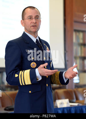 R.I. (March 23, 2016) Coast Guard Vice Adm. Charles D. Michel, vice commandant of the U.S. Coast Guard, provides remarks as the keynote speaker for the 2016 Maritime Strategy, EMC Chair symposium at U.S. Naval War College in Newport, Rhode Island. The two-day event brought together Department of Defense, academia, and policy community representatives to discuss maritime issues and their implications for understanding the types of missions combatant commanders will execute and types of equipment and training the sea services must provide to support these missions. - Stock Photo