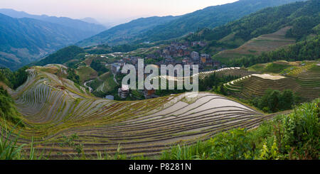 Longji Rice Terrace - Dragon's Backbone - at sunset - Stock Photo