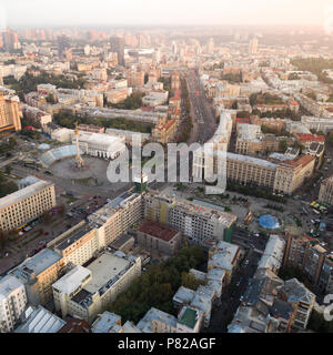 A view from the air to the central street of Kiev - Khreshchatyk, the European Square, Independence Square, Stalin and modern architecture. Ukraine - Stock Photo