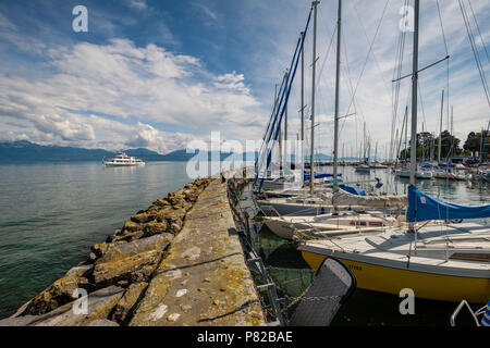 Passenger ferry boat arrives in the port of Morges, Switzerland. Ferry services Thonon - Morges - Lausanne - Stock Photo