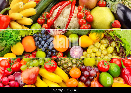 Wide collage of healthy vegetables and fruits - Stock Photo