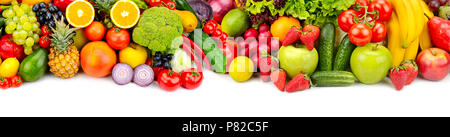 Panoramic collection fresh fruits and vegetables for skinali isolated on white background. Top view. Copy space. - Stock Photo