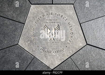 ARLINGTON, Virginia, USA - A foundation stone in the center of the US Air Force Memorial in Washington DC. It references the memorial's dedication by President George W. Bush on 14 October 2006. - Stock Photo