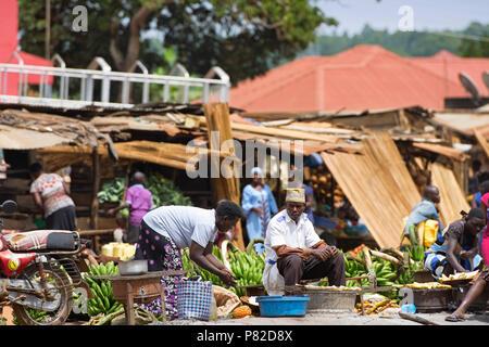 Street Vendors, Selling Matooke Uganda, Roadside Food Market, Fruits And Vegetables Market,  East Africa - Stock Photo