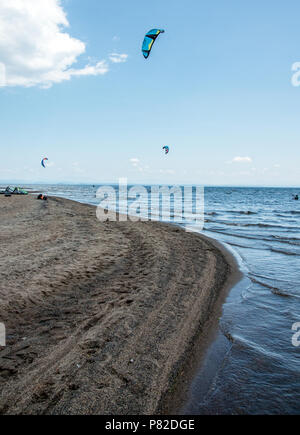 Wind surfers at Au Sable Point on Lake Champlain - Stock Photo