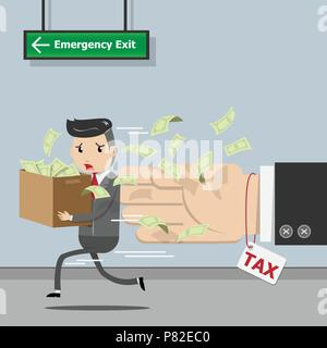 Tax payment , state government taxation, calculation of tax for tax time concept. Businessman running away from tax. vector illustration EPS10 - Stock Photo