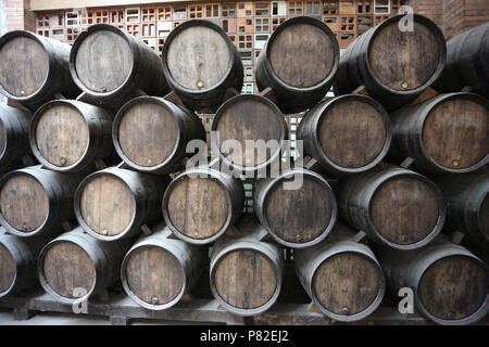 Old barrels for aging wine in the cellar - Stock Photo