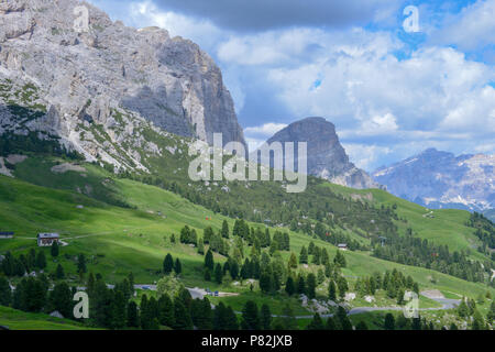 Beautiful summer mountain view of Sella group on Dolomites, Italy - Stock Photo